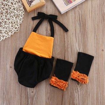 2pcs suit!!Halloween Newborn Baby Girl Clothes sleeveless bodysuit Outfits+Socks 0-2Y