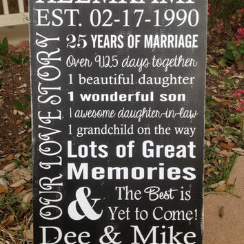 Personalized 25th, 30th, 35th, 40th, 45th, 50th  Anniversary Gift, Vow Renewal Gift, Wedding Gift ,  Castle Inn Designs - Special Dates