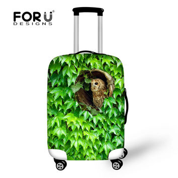 Hot Suitcase Cover Animal Travel Accessories Cute 3D Owl Green Plants Elastic Luggage Protective Covers For 18-30 Inch Suitcase