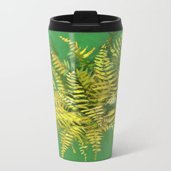 Golden Fern, floral art, green and yellow Metal Travel Mug by Clipso-Callipso