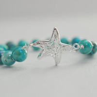 Sterling Silver Aqua Mermaid Starfish , Stretchy Bracelet - Beach Wedding Bridal Bridesmaid Gift