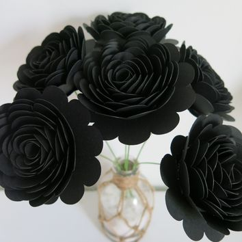 "6 Black Stemmed Roses, 3"" Blooms, Unique Retirement Gift Idea, 50th Birthday, Over the Hill"