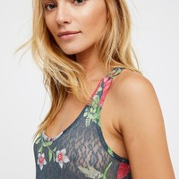 Free People Printed Lace Bodysuit