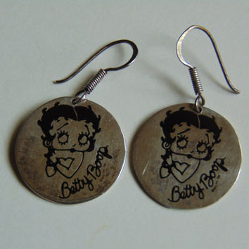 Betty Boop Sterling Silver Round Earrings Vintage