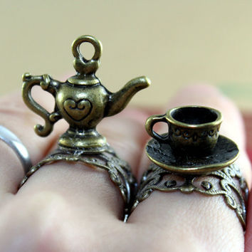 vintage style Loving  teapot and cup SET  adjustable ring