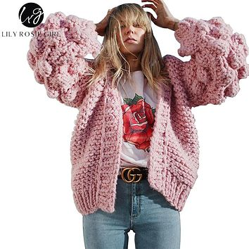 Lily Rosie Girl Hand Knitted Cardigans Women Sweater 2017 Autumn Winter Thick Warm Jumper Lantern Long Sleeve V Neck Outwear Top