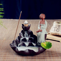 Home Decor Handmade Ceramic Beautiful Lady Painting Backflow Incense Burner. Great Gift idea.