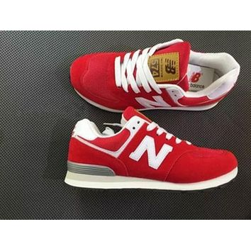 """New Balance"" Fashion Leisure All-Match N Words Breathable Lovers Sneakers Shoes Red I"