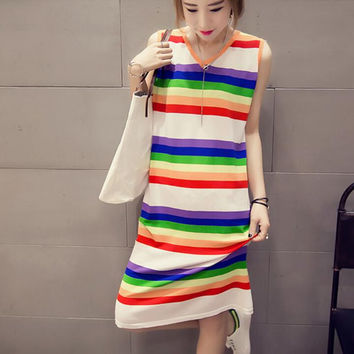 New Summer dress temperament Woman rainbow color stripe sleeveless dress-0704