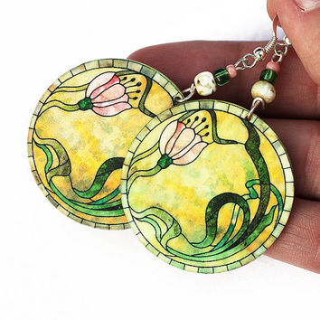 Romantic Pink Flowers Round decoupage jewelry Yellow by MADEbyMADA