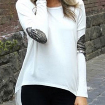 White Elbow Sequins Patched Long Sleeve T-shirt