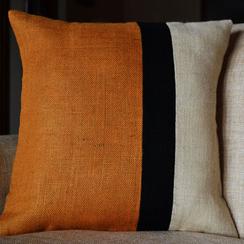 Mustard Pillow - Burlap Pillow color block - Mustard Decorative cushion cover-Yellow Throw pillow gift 18X18 -Mustard Euro Sham -Sofa pillow