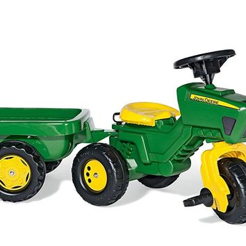 rolly toys John Deere Three Wheel Trac Pedal Tractor with Detachable Trailer, Y