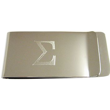 Silver Toned Etched Mathematical Greek Sigma Symbol Money Clip
