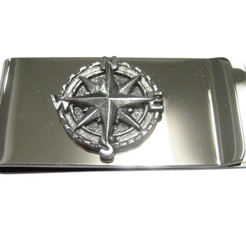 Silver Toned Textured Nautical Compass Money Clip