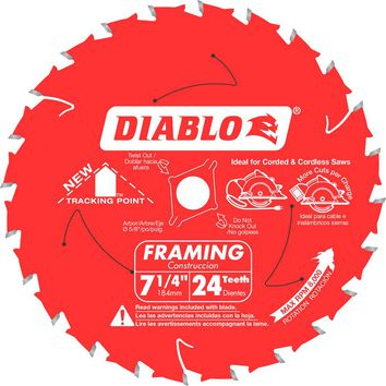 Diablo 7-1/4 in. x 24-Teeth Tracking Point Framing Saw Blade (2-Pack)-D0724R - The Home Depot