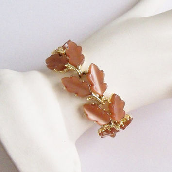 Vintage Bracelet Light Brown Thermoset Leaves Signed Lisner Fall Wedding Jewelry JewelleryGift for Her Birthday Christmas
