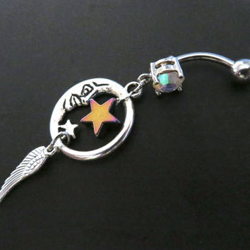 Moon Rainbow Star Wing Belly Button Ring- Dream Catcher Charm Dangle Navel Piercing Jewelry Galaxy Galactic Celestial Dreamcatcher Bar
