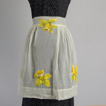 Vintage 1950's Sheer Yellow Apron with Applique Flowers Pin-up