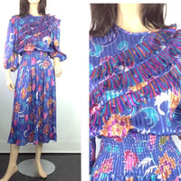 80s Boho Gypsy Dress Susan Tudor Diane Freis Style Vintage 80s Cinched Smocked Waist Pleated Ruffle Midi Tea Party Cocktail Dress m medium