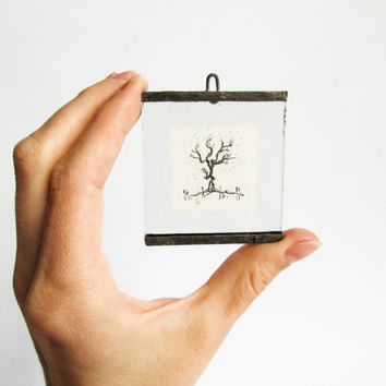 MINIATURE ART TINY art Tree illustration Miniature home decor Minimalist ink drawing Unique handmade picture Beautiful detailed intricate