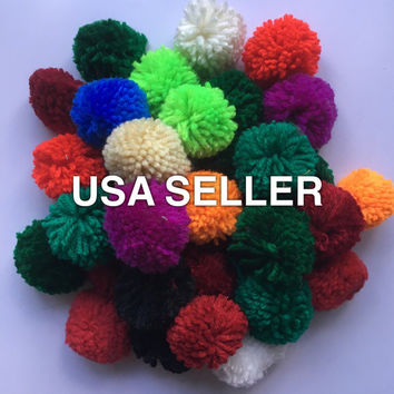 New 20 assorted colors handmade yarn pom poms pompoms