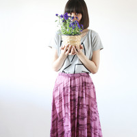 Purple pleated skirt Marbled pattern High waist skirt casual vintage style  80s (M)