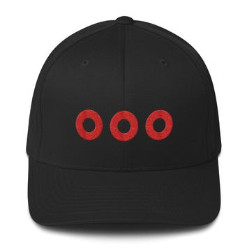 Phish Fishman Donut Embroidered Red Circles Structured Flexfit Twill Cap