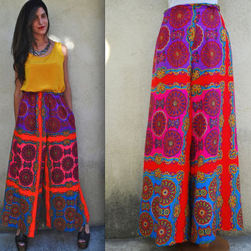 Vintage 60s 70s Psychedelic High Waisted Palazzo Pants