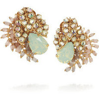 Bijoux Heart | Trellis gold-plated Swarovski crystal clip earrings | NET-A-PORTER.COM