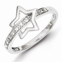 Sterling Silver w/Rhodium Plated Diamond Star Ring
