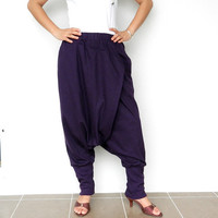 Traditional Ninja Pant Comfortable,Unisex Purple Cotton jersey.