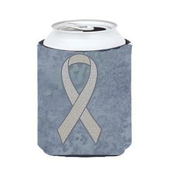 Clear Ribbon for Lung Cancer Awareness Can or Bottle Hugger AN1210CC