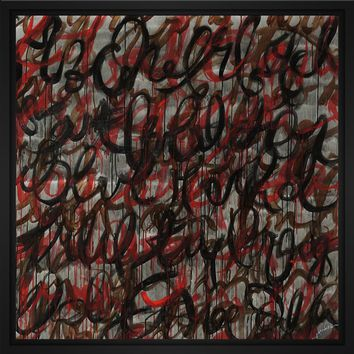 Decipher the Graffiti 28L X 28H Floater Framed Art Giclee Wrapped Canvas