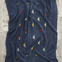 Vintage Geo Mountain Embroidered Indigo Tapestry