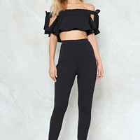 Off The Shoulder Crop Skinny Pant
