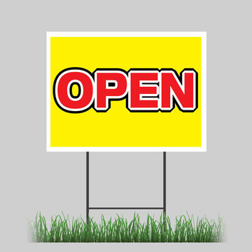 """18""""x24"""" Open Yard Sign Grand Opening New Business Shop Retail Sign"""