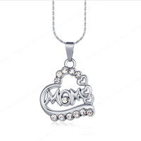 E. Moms - Silver Heart Shape on side with 3 Hearts and Rhinestones Necklace