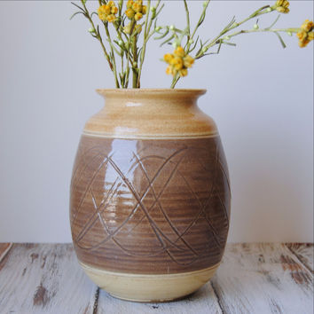 Yellow + Brown Wave Vase