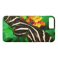 Chic, cute black and white striped butterfly photo iPhone 8 plus/7 plus case