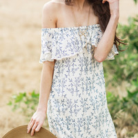 Tiffany Cream Embroidered Off the Shoulder Dress