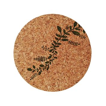 Leaf Vine Cork Coasters set of 4