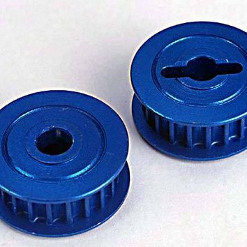 4895X - Pulleys, 20-groove (middle)(blue-anodized, light-weight aluminum) (2)/ flanges (2)