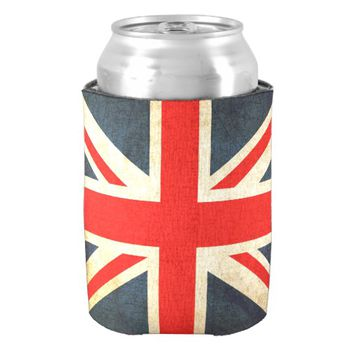 Vintage Union Jack British Flag Can Cooler