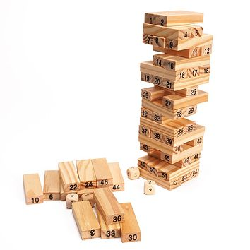 54 PCs Blocks 4 PCs Dice Wooden Tower Wood Building Blocks Classic Toy Domino Sacker Extract Building Educational Game