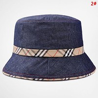 Burberry Fashion New Plaid Women Men Travel Leisure Cap Fisherman's Hat 2#