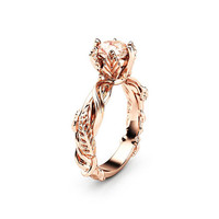 Peach Pink Sapphire Engagement Ring 14K Solid Rose Gold Ring Unique Nature Inspired Engagement Ring