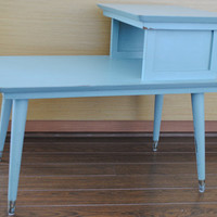 Retro Mid Century 2 level End Table/ Side Table - Refurbished - Distressed