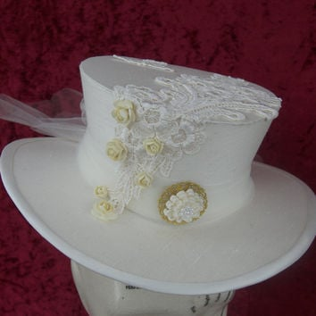 SAMPLE SALE Dressage wedding Steampunk hat - Riding top hat, Victorian, Wild West, Alternative, Offbeat, Country, Burlesque, Mad hatter