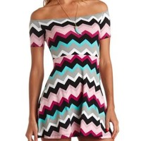 Off-the-Shoulder Chevron Skater Dress by Charlotte Russe - Multi